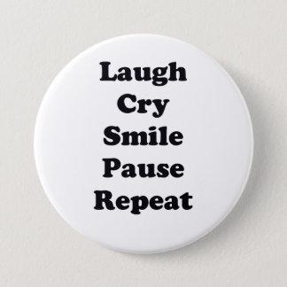 Chapa Redonda De 7 Cm Repetición de la risa