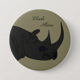 Chapa Redonda De 7 Cm Rinoceronte negro