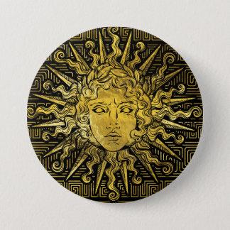 Chapa Redonda De 7 Cm Símbolo de Apolo Sun en el modelo dominante griego