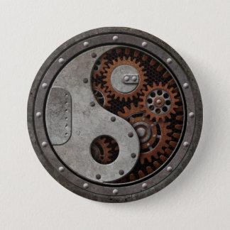 Chapa Redonda De 7 Cm Steampunk Yin Yang