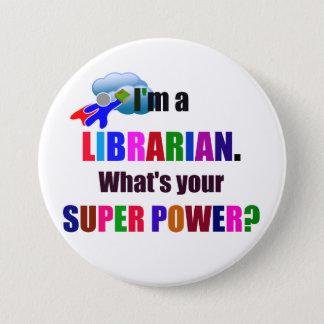 Chapa Redonda De 7 Cm Super héroe del bibliotecario - diseño colorido