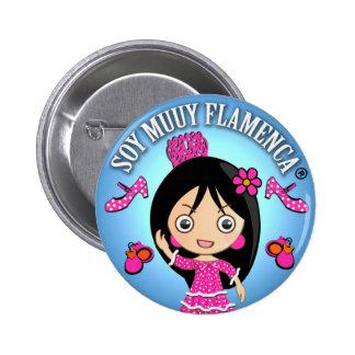 Chapa Soy Muuy Flamenca Rosa y Celeste Chapa Redonda 5 Cm