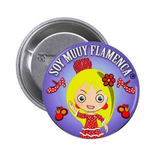 Chapa Soy Muuy Flamenca Rubia y Vestido Rojo Chapa Redonda 5 Cm