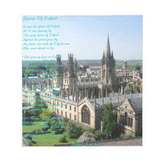 Chapiteles del poema de Oxford cerca: Winifried Bloc De Notas