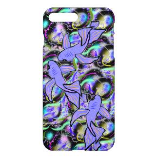 Chapoteo de la cubierta púrpura del iPhone de Koi