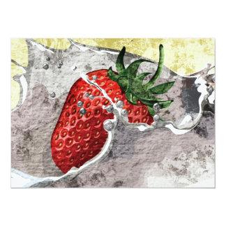 Chapoteo de la fresa invitación 13,9 x 19,0 cm