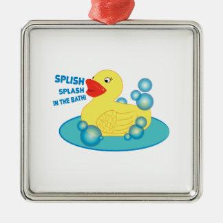 ¡Chapoteo de Splish en el baño! Adorno Cuadrado Plateado