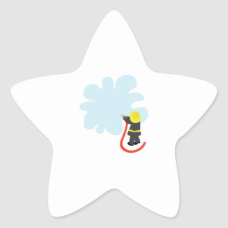 Chapoteo del bombero pegatina en forma de estrella
