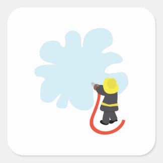 Chapoteo del bombero pegatina cuadrada