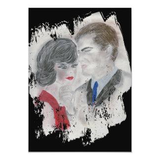 Chapoteo retro de los pares de los años 60 invitación 12,7 x 17,8 cm