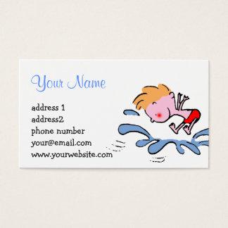chapoteo splish del dibujo animado lindo divertido tarjeta de negocios