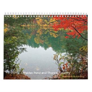Charca 2018 de Walden y país de Thoreau Calendario De Pared