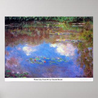 Charca #4 del lirio de agua de Claude Monet Póster