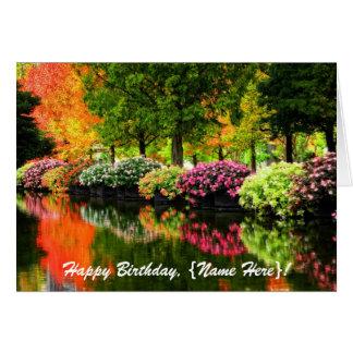 Charca colorida de las flores del parque de los tarjeta de felicitación