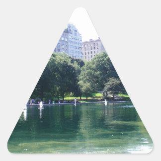 Charca de NYC en la impresión de la lona del Pegatina Triangular