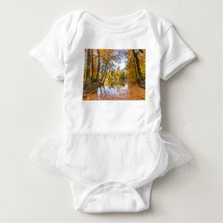Charca del bosque cubierta con las hojas en la body para bebé