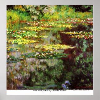 Charca subió mar de Claude Monet Póster