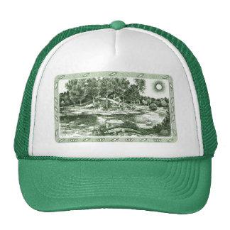 Charca verde del cocodrilo gorras de camionero
