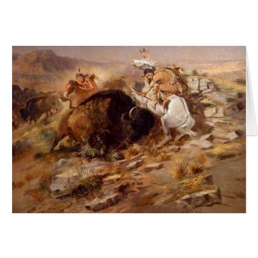 Charles Marion Russell - caza del búfalo Tarjeta
