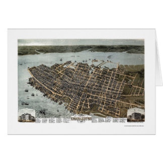 Charleston, mapa panorámico del SC - 1872 Felicitaciones