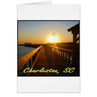 Charleston, puesta del sol del SC Tarjeton