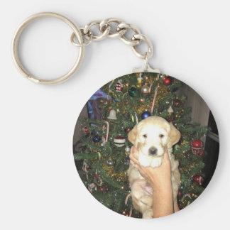 Charlie el perrito de GoldenDoodle en navidad Llavero