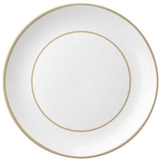 Charlotte azul y rayas blancas azul claro plato de cerámica