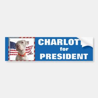 Charlotte para el presidente pegatina para el