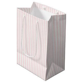 Charlotte rosada y el blanco raya rosas bebés bolsa de regalo mediana