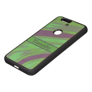 Chasquido azulverde del color fundas de madera para nexus s6p