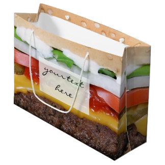 cheeseburger delicioso con la fotografía de las bolsa de regalo grande