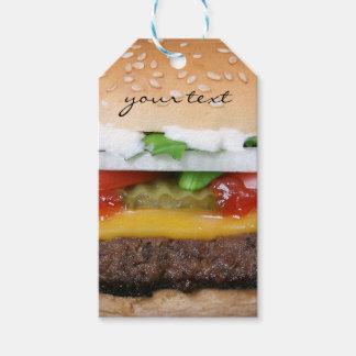 cheeseburger delicioso con la fotografía de las etiquetas para regalos