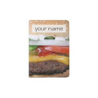 cheeseburger delicioso con la fotografía de las portapasaportes