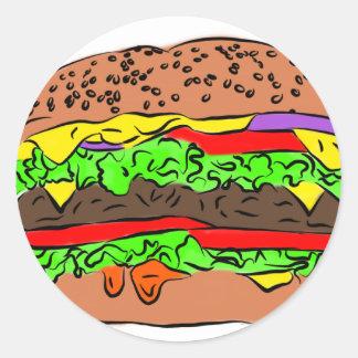 Cheeseburger Pegatina Redonda