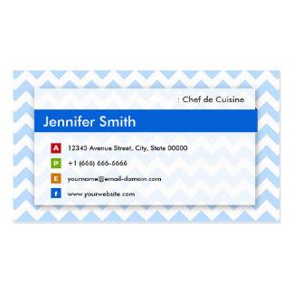Chef de Cuisine - Chevron azul moderno Tarjetas De Visita