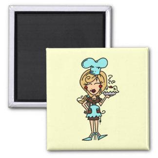 Chef de repostería de sexo femenino - camisetas y  iman de frigorífico