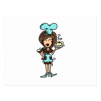 Chef de repostería de sexo femenino - camisetas y tarjeta postal