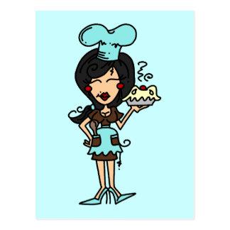 Chef de repostería de sexo femenino - camisetas y postal