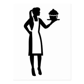 Chef de repostería de sexo femenino postal