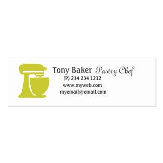 Chef de repostería verde de la panadería del tarjetas de visita mini