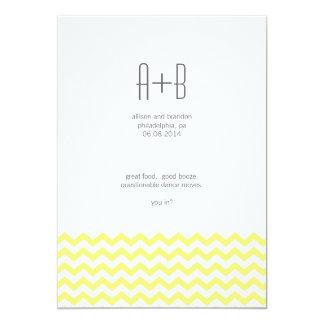 ¿Chevron amarillo usted adentro? Ahorre la fecha Invitación 12,7 X 17,8 Cm
