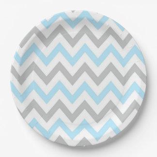 Chevron azul claro y gris - moderno, muchacho plato de papel
