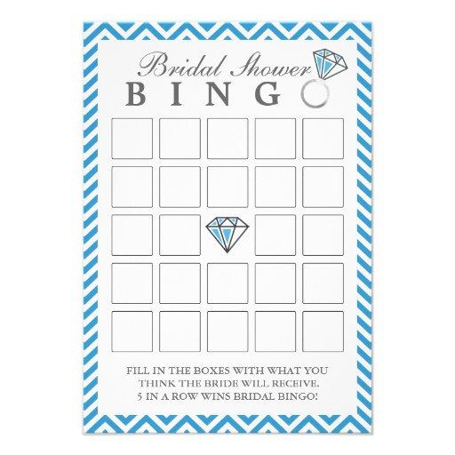 Chevron azul raya tarjetas nupciales del bingo de  comunicado