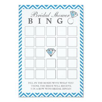 Chevron azul raya tarjetas nupciales del bingo de invitación 8,9 x 12,7 cm