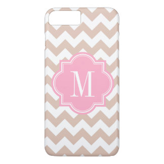 Chevron beige con el monograma rosado funda iPhone 7 plus