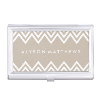 Chevron beige y blanco moderno cajas de tarjetas de negocios