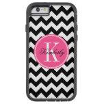 Chevron blanco y negro con el monograma rosado funda de iPhone 6 tough xtreme