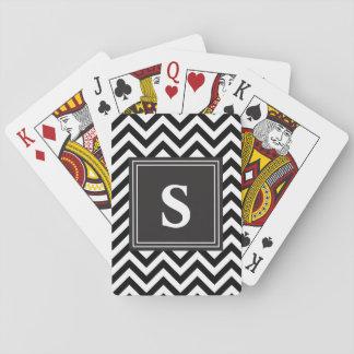 Chevron blanco y negro con monograma de encargo el barajas de cartas