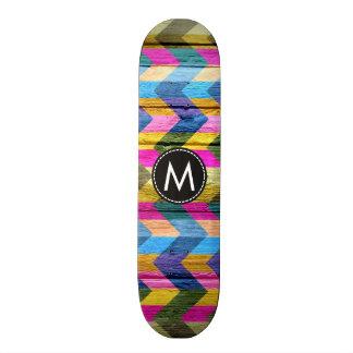 Chevron de madera pintado raya el modelo #6 tabla de patinar