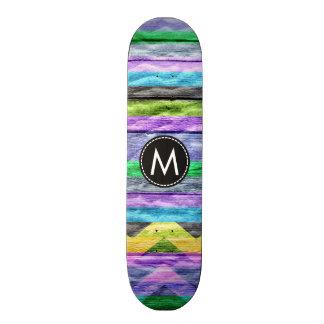 Chevron de madera pintado raya el modelo #9 monopatín 18,4 cm